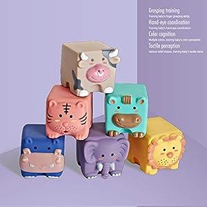 SNOWINSPRING Baby Sensory Toys Building Silicone Blocks Grasp Toy 3D Silicone Building Blocks Soft Ball Kid Rubber Bath…