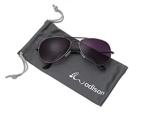 WODISON Classic Kids Aviator Sunglasses Reflective Metal Frame Children Eyeglass Gun Frame Gradual Smoke Lens