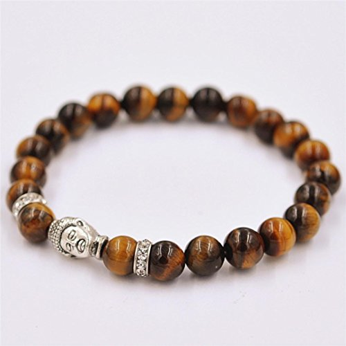 Fheaven Women Men Bracelet Silver Buddha Elastic Beaded Bracelet Tibet Charm Bracelets (Brown) (Bracelet Beaded Hope)