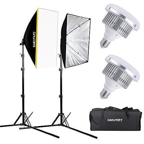 Hakutatz - Set de iluminación LED para Estudio fotográfico, Incluye 2 Bombillas LED de 35