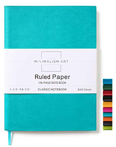 Minimalism Art, Soft Cover Notebook Journal, A5 Size 5.8 X 8.3 inches, Blue, Ruled Lined Page, 176 Pages, Fine PU Leather, Premium Thick Paper-100gsm, Ribbon Bookmark, Designed in San Francisco