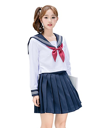 Anime School Girl Outfit (ROLECOS Girls Japanese Sailor Suit Japanese Anime Lolita Sailor School Uniform Long Sleeve 4)
