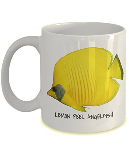 Lemon Peel Angelfish Tropical Fish Collection - 11 oz Fish Identification Collector's Mug - Gift Idea for the Ocean Lover