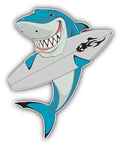 White Shark Surfboard Home Decal Vinyl Sticker 4'' X 5''