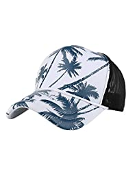 Forthery Unisex Blank Washed Low Profile Organic Cotton and Denim Coconut Tree Vacation Dad Hat Printed Baseball Cap