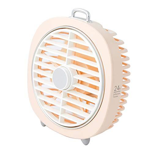 (Fullyday Alarm Clock Shape Mini USB 3-Speed Adjustable Rechargeable Desktop Triangle Fixed Table Lamp Fan (Pink))