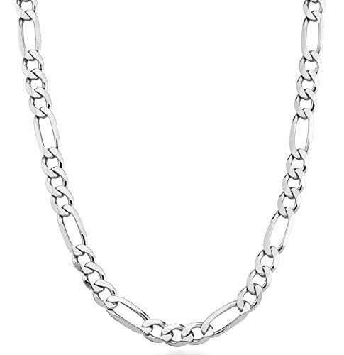 MiaBella 925 Sterling Silver Italian 7mm Solid Diamond-Cut Figaro Link Chain Necklace for Men, 18, 20, 22, 24, 26, 30 Inches (30) ()