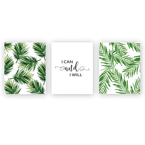Unframed I Can and I Will Art Print Inspirational Quote&Saying Art Painting,Set of 3(8''x10'') Leaves Wall Art Canvas Poster for Living Room Office Decor