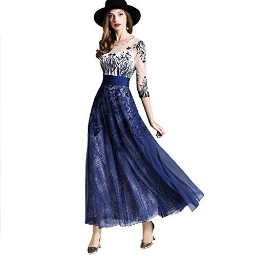Robes D Manches Taille 3 e dons Haut Robes 4 Cotyl Longues Bleu Women gag De Encolure Soir s rwSr8nq