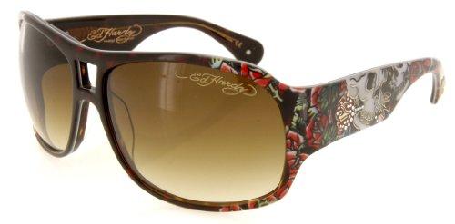 Ed Hardy Skull And Roses Brie Sunglasses - Tortoise