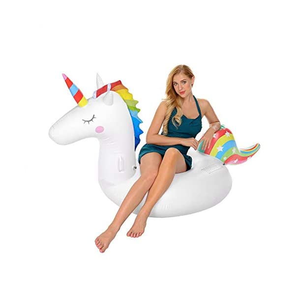 YAze Inflatable Unicorn Pool Float Animal Balloon Pool Tube Fun Beach Floaties Summer Pool Raft Lounge Swim Party Sports… 8