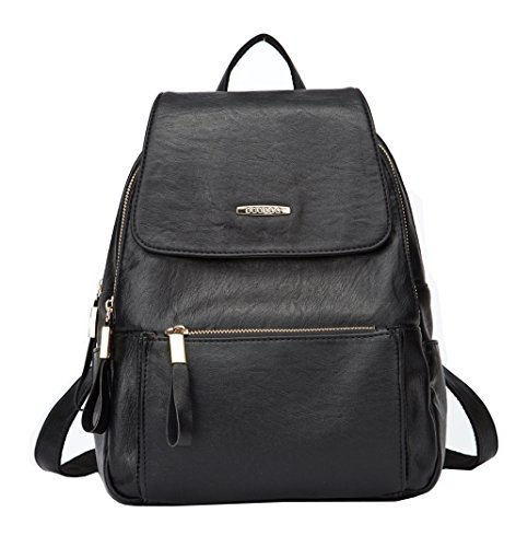 Ghlee Girls Leather Backpack College Style Large Capacity School Bag Black A
