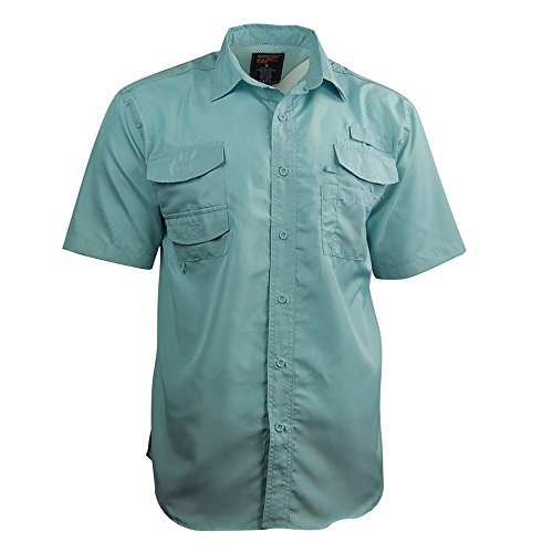 Walnut Creek Men's Short Sleeve Button-Up Fishing Shirt; UPF 30+ (3X-Large, Light Blue)