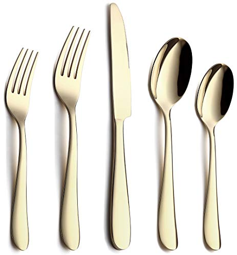 Gold Silverware Set, Flatware Set 20-Piece Stainless Steel Cutlery Mirror Polished Utensil Tableware Sets, Include Knife Fork Spoon for Kitchen Service for 4