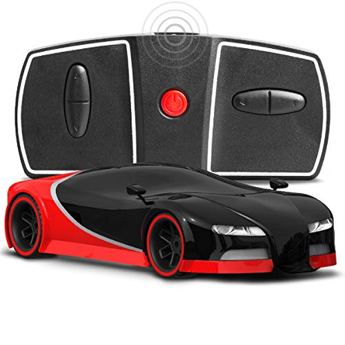 Sharper Image Miniature Toy RC Italia Sports Car 1:50 Scale Luxury Cars-Inspired Design LED Headlights & Brake Lights, Red Black, Long Range 2.4 GHz Frequency Remote Control