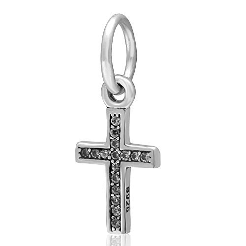 - Symbol of Faith Charm - 925 Sterling Silver with Clear Zircon Stone Keep Faith Pendant Charm Bible Beads