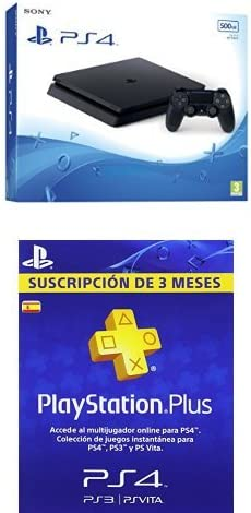 PlayStation 4 Slim (PS4) - Consola de 500 GB + PSN Plus Tarjeta 90 ...