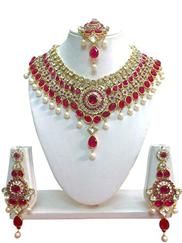 (CROWN JEWEL Bollywood Ethnic Gold Plated Indian Fashion Bridal Jewelry Necklace Earring Set for Women (Pink))