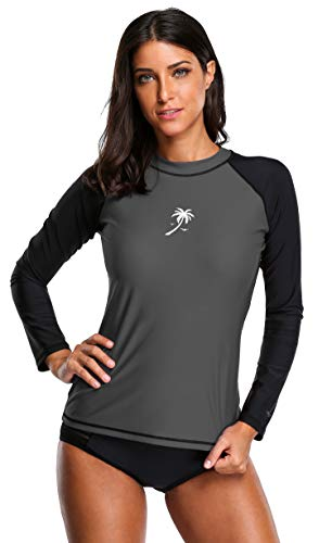 ATTRACO Womens Long-Sleeve Rush Guard Uv Rushguard UPF 50 Swimming Shirt XL