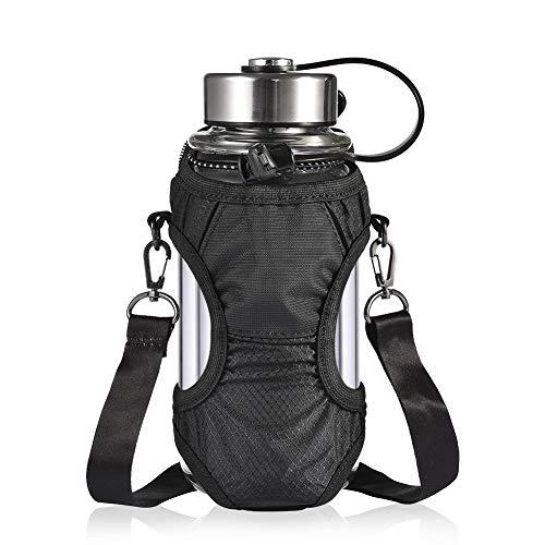 Frishare Compact Water Bottle Carrier Pouch Bag , Handy Water Bottle Holder, Adjustable Shoulder Strap Foldable Design for Most Bottles(12oz-50 oz), Perfect For Walking, Biking, Hiking and more-Black