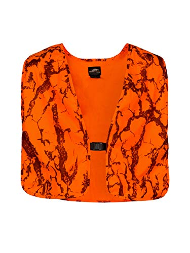 Natural Gear Blaze Camo Orange Safety Vest with Velcro Closure, Lightweight Hunting Vest for Men, 100% Poly Tricot Material ()