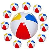 Kicko 12 Pack - 12 Inch Inflatable Beach Balls - Rainbow Colored Beachballs - for Swimming Pools, Pool Party, Playing, Volleyball, Beach, Ocean, Kids, and Adults