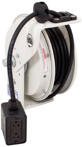 (KH Industries RTB Series ReelTuff Power Cord Reel, 12/3 SJOW Black Cable and Four Receptacle Outlet Box, 20 Amp, 50' Length, White Powder Coat Finish)