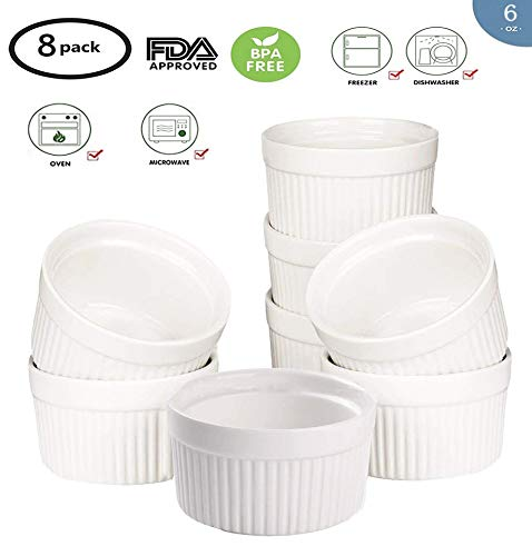 Accguan Set of 8 PCS 6 oz Round Porcelain Oven Safe Ramekin Dessert Souffle Baking Dish(3.5 INCHES) (White)