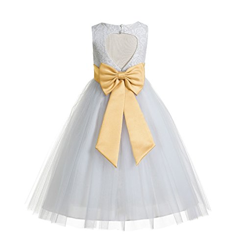 ekidsbridal Floral Lace Heart Cutout White Flower Girl Dresses Gold First Communion Dress Baptism Dresses 172T ()