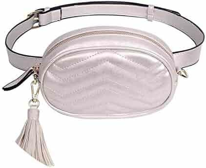JNHVMC Waist Bag Women Pearl Chain Waist Packs Bags Leather Belt Chest Handbag Black Ladies Belt Bag