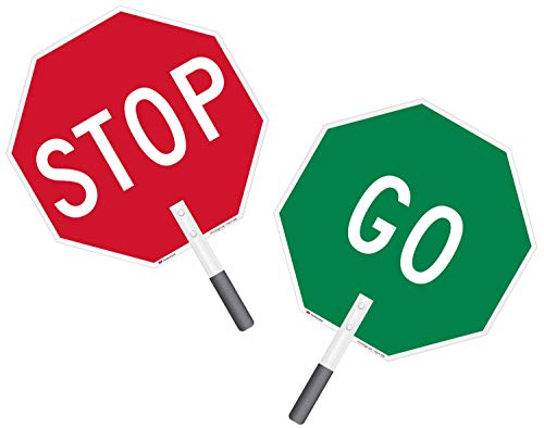 """Stop - Go"" Double Sided Paddle By SmartSign 