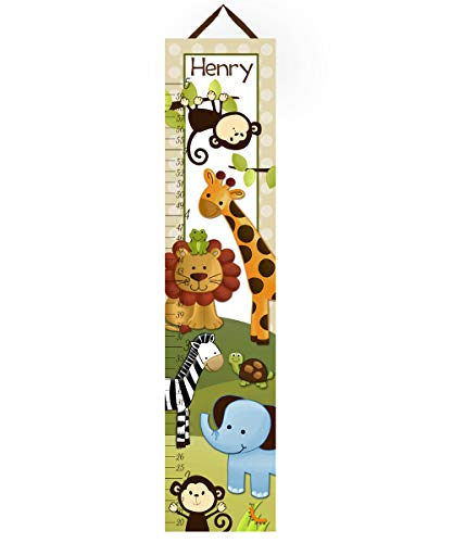 Toad and Lily Canvas GROWTH CHART Jungle Safari Animals Blue Elephant Monkeys Lion Giraffe Babies Bedroom Baby Nursery Wall Art GC0004 (Safari Growth Chart)