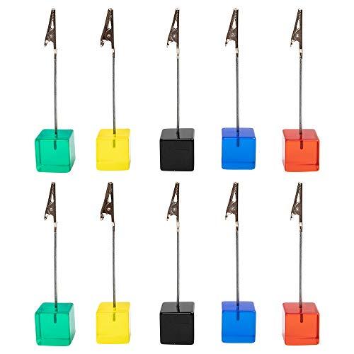 senover 10pcs Table Number Holder Name Place Card Holder Memo Clip Holder Stand Note Holder Pictures Card Paper Menu Clip (Colorful)