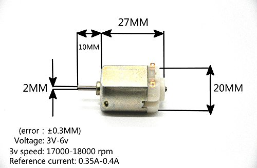 J-Cloud 10/PACK 6V 130 DC 17000-18000 RPM Toy Motors (DIY Small RC Car Motor),with 10pcs Toothed Wheel for Free