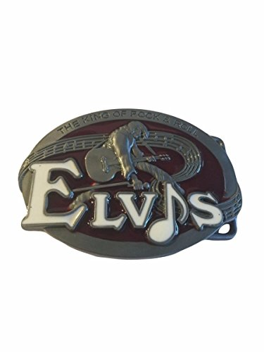 Elvis The King of Rock and Roll Metal Enamel Belt Buckle