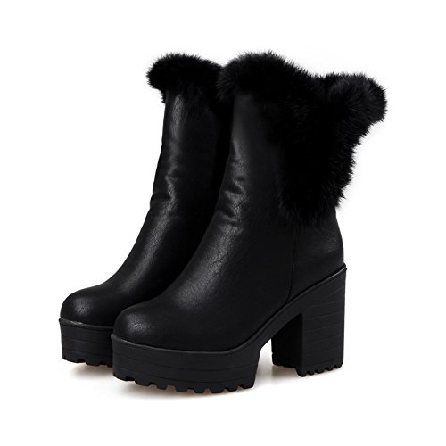 A Collar amp;N Leather Platform Black Ladies Imitated Chunky Heels Fur Boots a1Srafqw