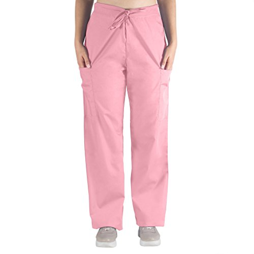 Nurse Scrubs for Men & Women: Unisex Medical Nursing Pants 2 Cargo Pockets 2XL Light Pink