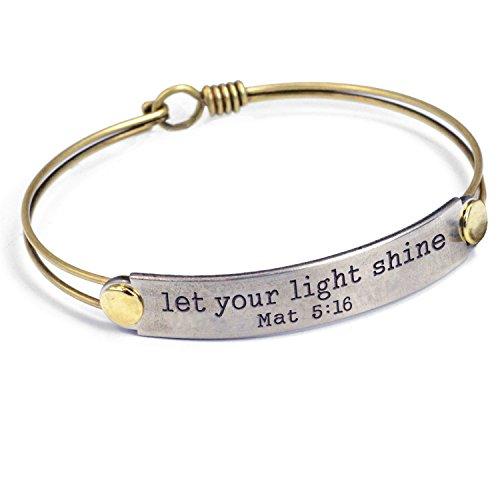 Sweet Romance Let Your Light Shine (Mat 5:16) Engraved Bible Verse Inspirational Faith Religious Bar Bangle Bracelet (Let Your Light Shine Vacation Bible School)