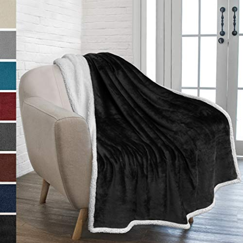 PAVILIA Premium Sherpa Throw Blanket for Couch Sofa | Super Soft, Cozy, Plush Microfiber Black Throw for Chair | Reversible Warm Flannel Fleece Solid Blanket(Black, 50 x 60 ()