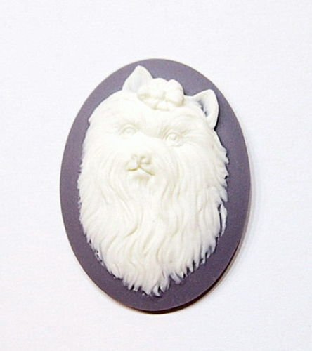 4 Pcs of White Over Gray Blue Shih Tzu, Maltese, Pekingese Dog Cameos Cabs - Gray Shih Tzu