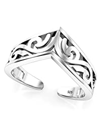Sterling Silver Tiara Adjustable Toe Band Ring