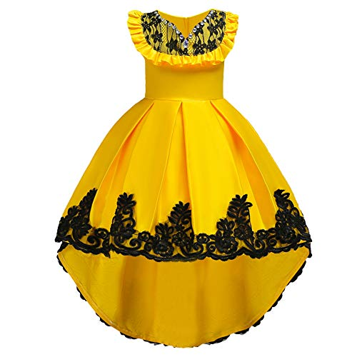 HUANQIUE Girls Pageant Flower Girl Bridesmaid Dress Hi-Low Ball Party Gowns Yellow 8-9 Years -