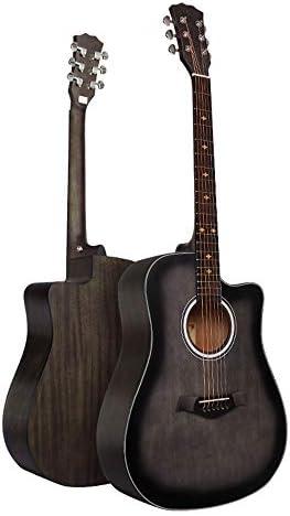 初心者 入門ギター フェイスシングルスプルース桃の花フォークギターベニヤグラデーションブラックベニヤグラデーションブラックギター 小学生 大人用 (Color : Natural, Size : 41 inches)