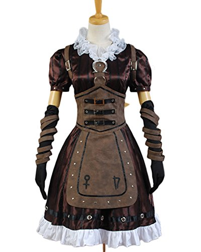 Madness Returns Costumes (Alice Madness Returns Cosplay Costume Steamdress Maid Dress+Necklace Apron Suit)
