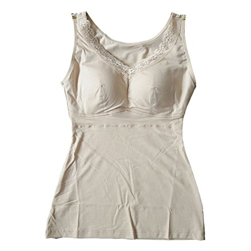 Zhhlaixing alta calidad Ladies Long Paragraph Cotton Vest with a Cup One Type Underwear Simple Style Bra Nude