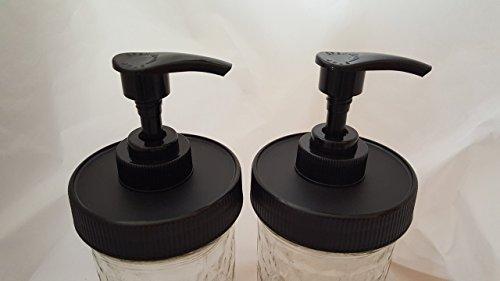 2 Black Matte Plastic Lids with Liner & Pump - Regular/Standard Mason Jar Lotion/Soap dispenser Lid