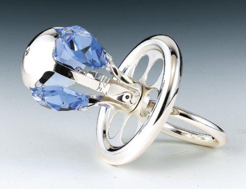 Baby Pacifier Silver Platd Swarovski Crystal Ornament B