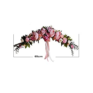 Rose Peony Artificial Flowers Garland European Lintel Wall Decorative Flower Door Wreath for Wedding Home Christmas Decoration,A Rose Pink 65Cm 106