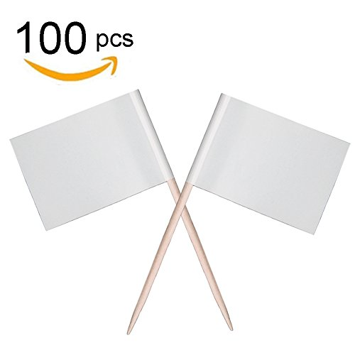 Zehhe Mini Blank White Flag 100Pcs Paper Food Picks Dinner Cake Toothpicks Cupcake Decoration Fruit Cocktail Sticks Party Supplies - Cupcake Flags