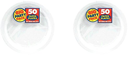 Big Party Pack Paper BURfuP Dinner Plates 9-Inch, 50/Pkg, White (Pack of 2)